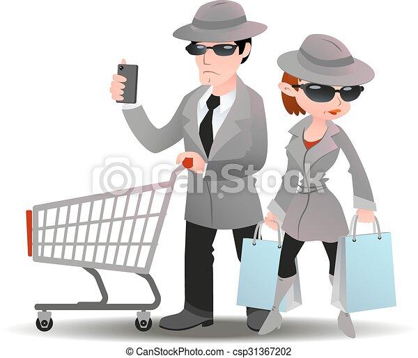 Hombre de compras misterioso con un carrito de supermercado y una bolsa de mujer con abrigo de espía - csp31367202
