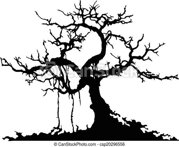 Silueta de árbol misterioso - csp20296556
