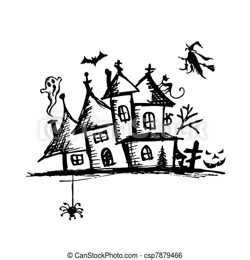 La vieja casa de misterio, la noche de Halloween - csp7879466