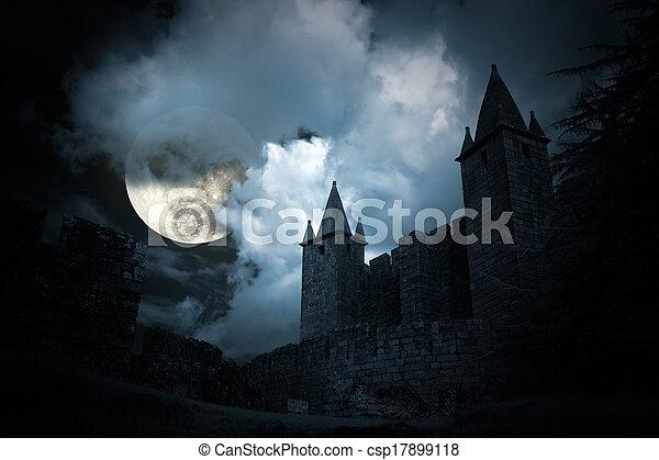 misterioso, castello, medievale - csp17899118