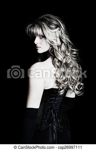 misterioso, donna, giovane - csp26997111