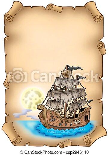 misterioso, nave, vecchio, rotolo - csp2946110