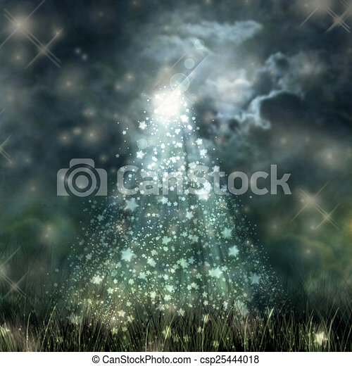 mistico, chiaro di luna, cielo, scuro, fluente, suolo - csp25444018
