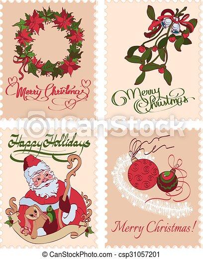 mistletoe, vindima, grinalda, seamless, selos, saudações, padrão, natal - csp31057201