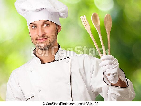 mistrz kucharski, drewniany, młody, łyżki, dzierżawa, samiec - csp12344132