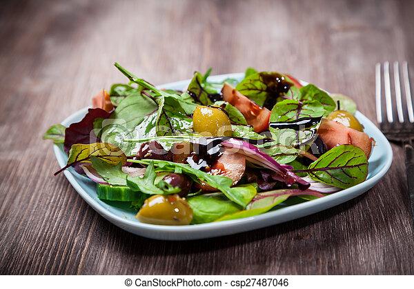 misturado, caloria, baixo, salada - csp27487046