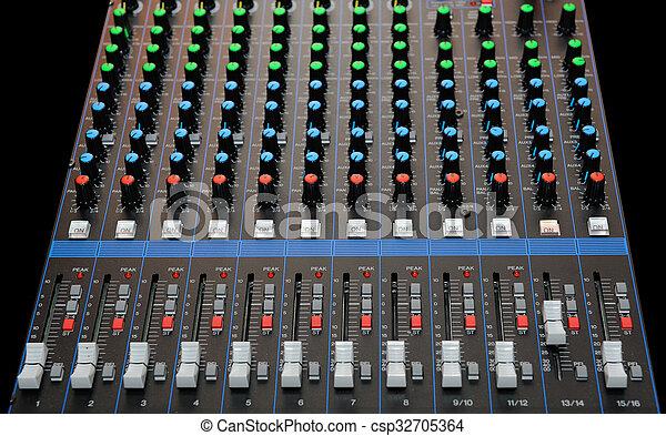 misturando, faders, áudio, console - csp32705364