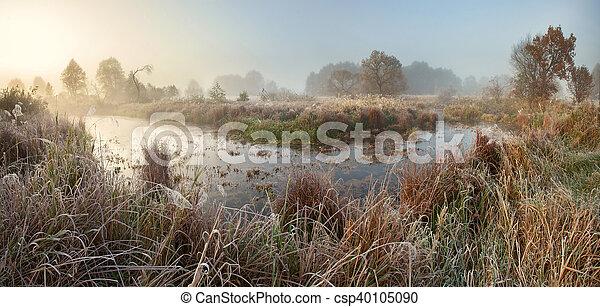 Misty autumn sunrise - csp40105090