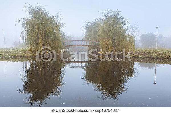 Misty autumnal landscape in the park - csp16754827