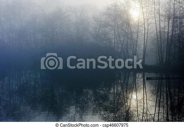 Misty countryside sunrise - csp46607975