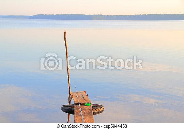 misty dawn at the lake - csp5944453
