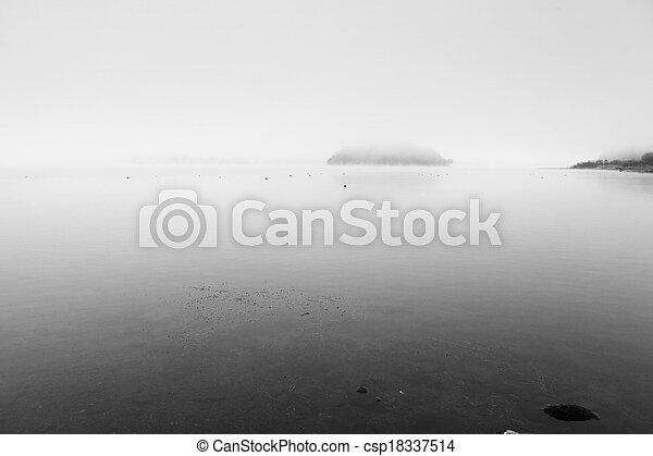 Misty lake - csp18337514