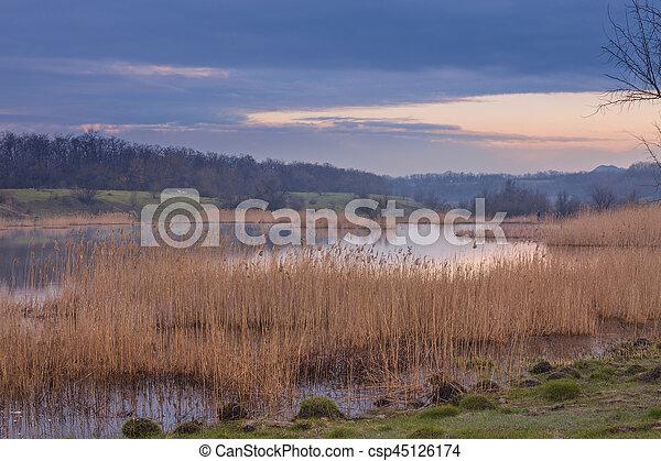 Misty morning at the lake - csp45126174