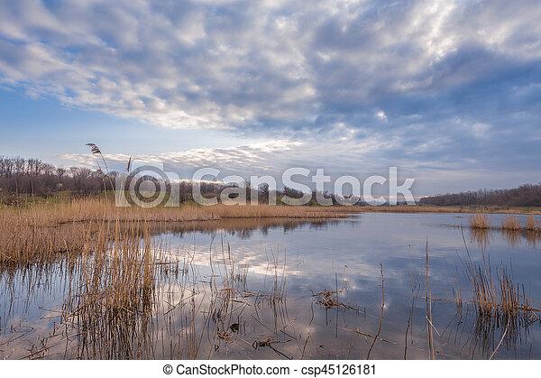 Misty morning at the lake - csp45126181