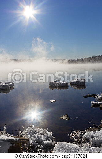 misty morning on the lake - csp31187624