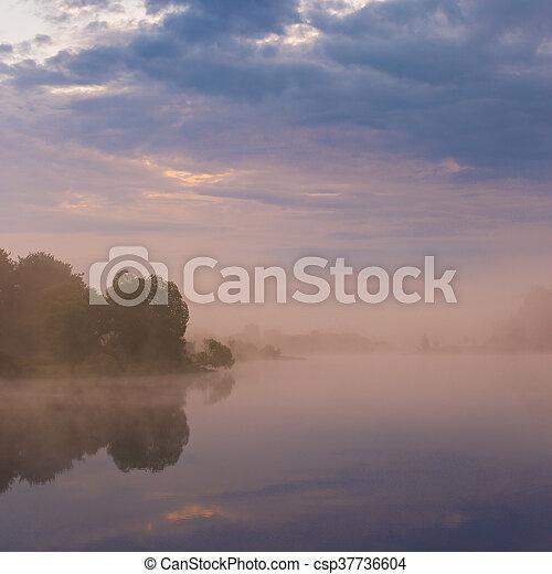 Misty morning on the lake. - csp37736604