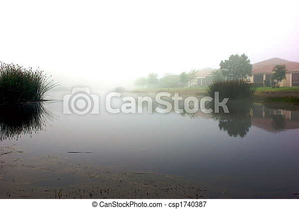 misty morning reflections - csp1740387