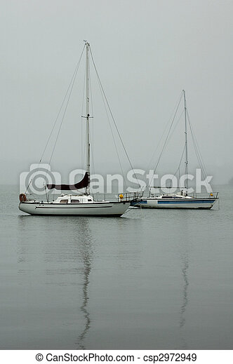 Misty reflections on the lake - csp2972949