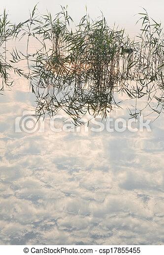 Misty sunrise at the lake - csp17855455