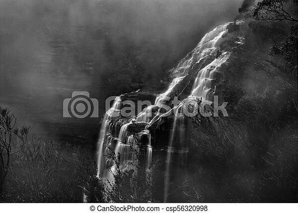 Misty Waterfall Blue Mountains - csp56320998