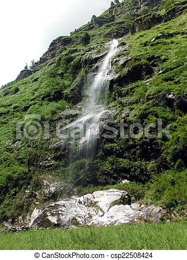 Misty Waterfall in the Green Lower Himalayas - csp22508424