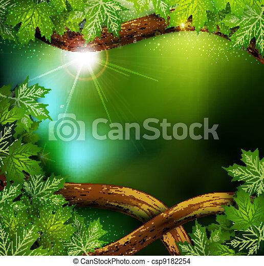 mistyczny, liście, drzewa, wektor, las, tło, tajemniczy - csp9182254