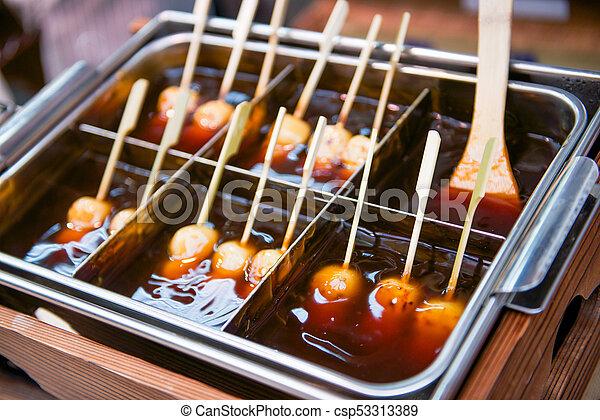 Mitarashi Dango Ball On Skewer With Sauce Food
