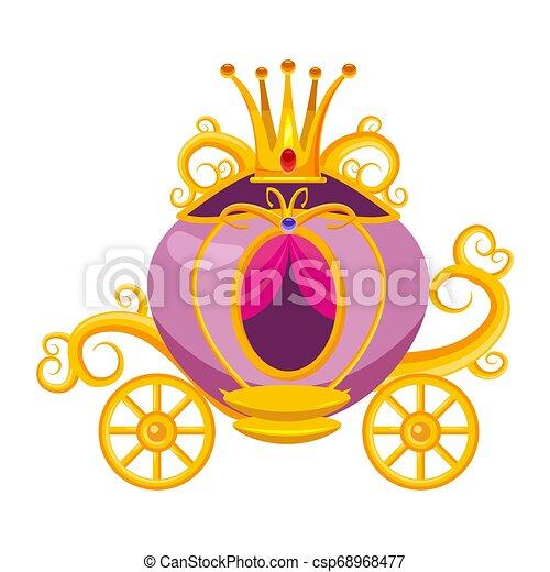 mito, cinderela, medieval, fada, ilustração, precioso, europe., carruagem, isolado, princesa, conto, cultura, vetorial, coroa, diamantes, lenda, decorado, stones., caricatura, estilo - csp68968477