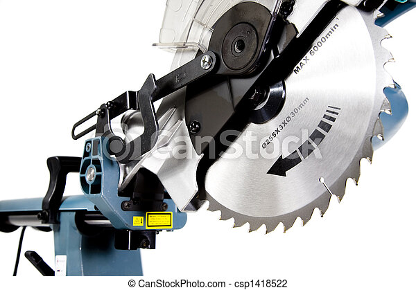 Mitre saw in white background blade teeth in focus stock photo mitre saw csp1418522 greentooth Image collections