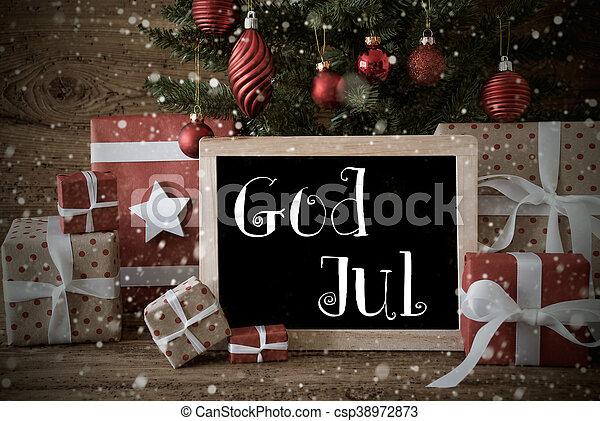 Frohe Weihnachten Schwedisch.Mittel Gott Schneeflocken Jul Nostalgischer Baum Frohe Weihnacht