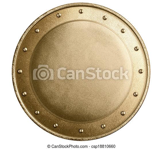 Rund Bronze- oder Goldmetall mittelalterliche Schild isoliert - csp18810660