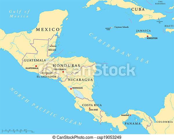 Zentralamerika Politische Karte Politische Karte Von