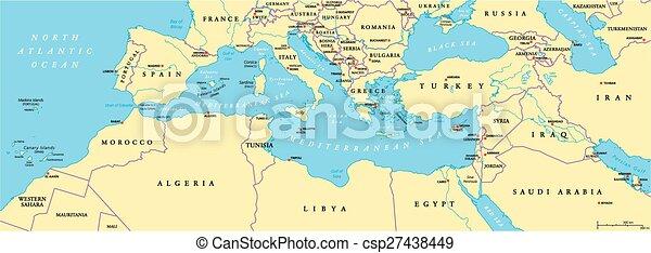 Politische Karte Des Mittelmeerraums Sudeuropa Nordafrika Und