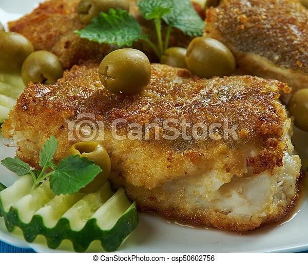 Mittelmeer, spanisch-stil, küche, kabeljau. Kabeljau, mittelmeer ...