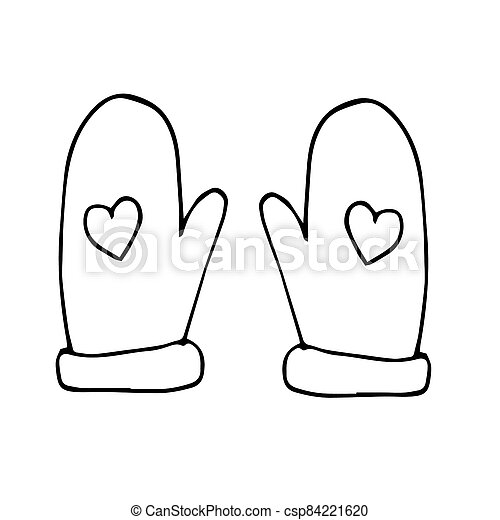 mittens with hearts hand drawn Christmas theme. scandinavian style, liner simple. - csp84221620