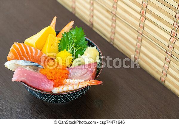 mix fresh raw on topped rice bowl (donburi) - csp74471646