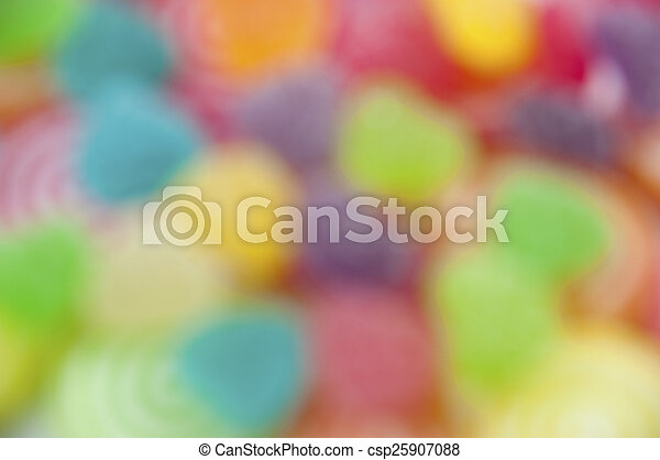 Mix jelly fruits on abstract background blur - csp25907088
