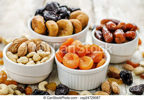 mix of dried fruits and nuts - csp24729087