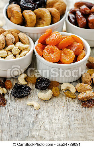 mix of dried fruits and nuts - csp24729091