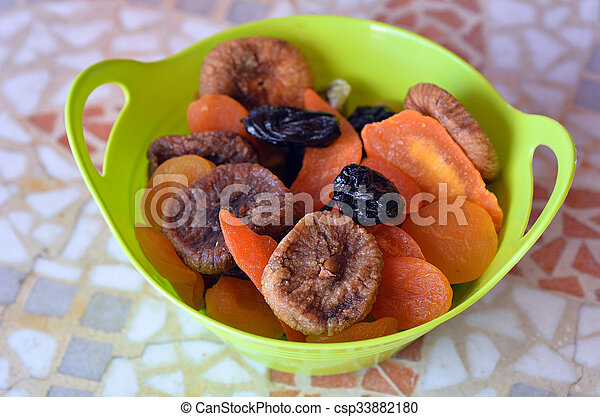 Mix of dried fruits in a green bowl during the Jewish holiday Tu Bishvat - csp33882180