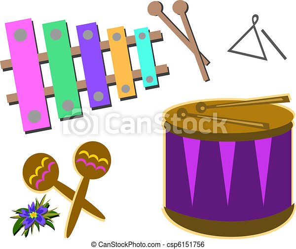 mix of percussion instruments here are different clip art vector rh canstockphoto com clipart musical instruments clipart instruments de musique