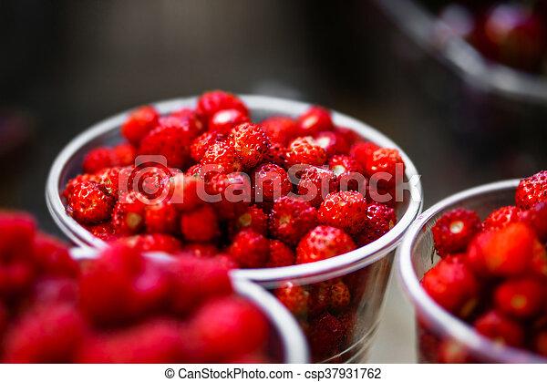 mixed berries at eco market - csp37931762