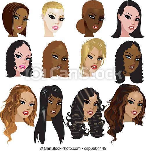 Vector Illustration Of Mixed Biracial Women Faces Great