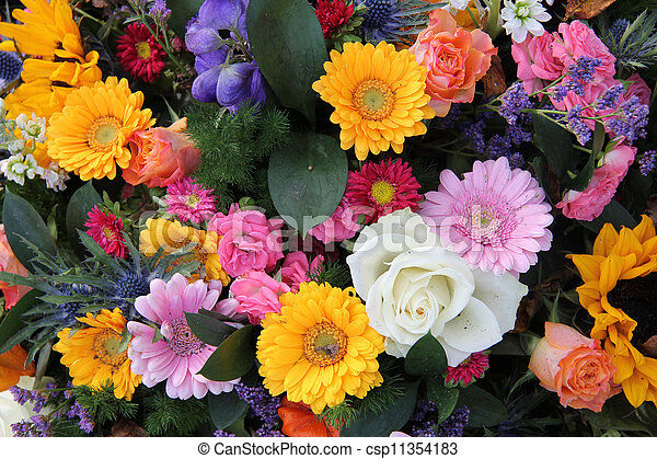 Mixed bouquet in bright colors - csp11354183