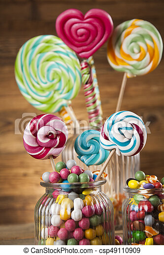 mixed colorful sweets lollipops and candy colorful lollipops and