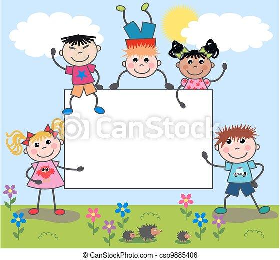 mixed ethnic children - csp9885406
