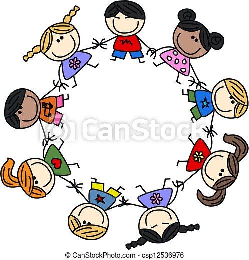 mixed ethnic children friendship - csp12536976