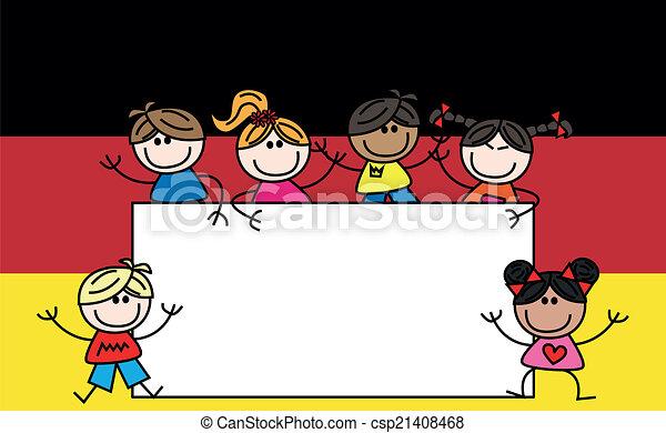 Mixed Ethnic Children German Flag