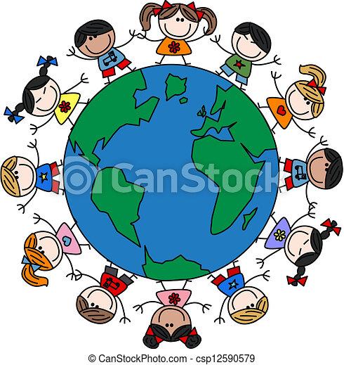 mixed ethnic happy kids - csp12590579