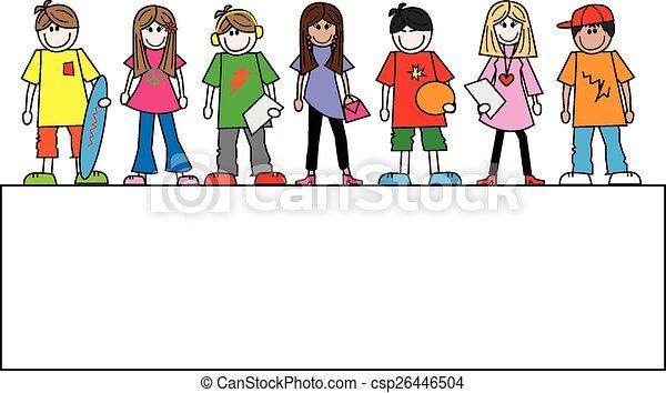 mixed ethnic teens header banner - csp26446504
